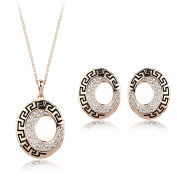 Acefeel Vintage Style Crescent Black Enamel Hollow Oval Shaped Necklace Earring Jewellery Set S086