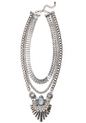 Happiness Boutique Women Layered Statement Necklace in Silver | Big 3 Strands Fashion Art Deco Necklace nickel and lead free
