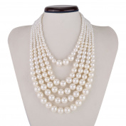 Kalse Fashion Resin White Simulated Pearl Multi Strand 5 Layer Choker Necklace