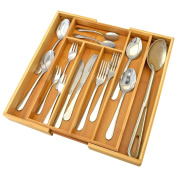 Top Home Solutions Extending / Expandable Bamboo Wooden Cutlery Tray Holder Adjustable Kitchen Tidy Drawer