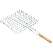 Dealglad® BBQ Barbecue 2 Fish Grilling Basket Roast Folder Tool with Wooden Handle