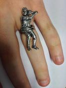 S8 Tennis Player English Pewter Ladies Ring, Adjustable Handmade in Sheffield