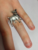 D13 Jack Russell Dog English Pewter Ladies Ring, Adjustable Handmade in Sheffield