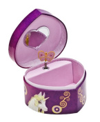 Joy Toy 118106 - Mia and Me Heart-Shaped Jewellery Box with Musical Clock and Rotating Butterfly, 14.5 x 14 x 9 cm