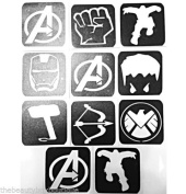 #22 Refill Stencils Only - 11 X Avengers Glitter Tattoo Stencils - Face Painting And Airbrush Stencils