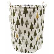 Sea Team 50cm x 40cm Large Sized Folding Cylindric Waterproof Coating Canvas Fabric Laundry Hamper Storage Basket with Drawstring Cover, Tree