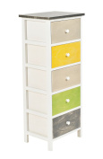 ts-ideen Chest of Drawers Cabinet 925cm Multicolor Shabby Vintage style with 5 drawers