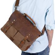Lifewit 14 inch Leather Satchel Messenger Laptop Shoulder Bag Canvas Briefcase, 33cm(L)x27cm(H) x 10cm