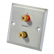 Dynavox Speaker Wall Connexion Faceplate Stainless Steel 2 Banana Jacks