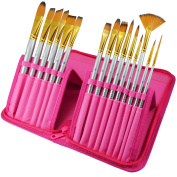 Paint Brushes - 15 Pc Art Brush Set for Watercolour, Acrylic, Oil & Face Painting | Short Handle Artist Paintbrushes with Travel Holder & Free Gift Box | 1 Year Warranty