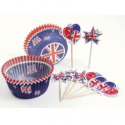 Great Britain Union Jack Cupcake Cases & Picks x 24