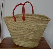 Red Moroccan Shoulder Market Shopping Basket - Large - Red Shoulders Leather Handles - W50 D20 H34
