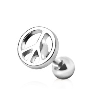 Peace Sign 316L Surgical Steel Tragus / Cartilage Earring Ear Bar