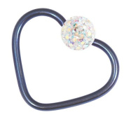 Titanium coated Steel Continuous Glitzy Heart Ring for Helix, Daith, Rim Piercings. 1.2mm gauge. Internal Diameter 10mm. Blue metal with Crystal AB Jewel