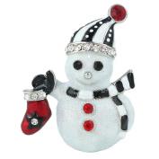 EVER FAITH® Christmas Snowman Scarf Boot Brooch Clear Austrian Crystal Silver-Tone N04533-2
