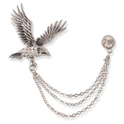 S & E Men's Eagle Rhinestone Chain Ornament Floral Lapel Stick Suit Tuxedo Corsage Brooch Pin