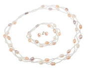 TreasureBay Elegant Natural Freshwater Pearl Necklace, Bracelet & Earrings , pearl jewellery set - Presented in a Beautiful Jewellery gift Box