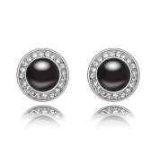 ufengke® Fashion Austrian Pearl Crystal Round Stud Earrings White Gold Plated Women Girls Gift