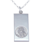 "Sterling Silver St Christopher Ingot Pendant with 18"" Chain - 10mm x 20mm"