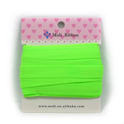 mdribbons 1.6cm 10 Yards Matte Elastic Ribbon For Hair Tie Headband Hair band Accessories Decoration Acid Green Colour