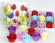 Tulip, Rose Bath Bomb, Nine Colourful Charing Rose Flower with tulip flower box, 4