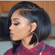 Rongduo Yi Natural Colour 8a Grade 130density Short Peruvian Virgin Hair Lace Front Human Hair Wigs for Black Women with Natural Hairline