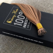 Sunny 46cm 1g Per Strand 50g/pack Brown Highlighted with Blonde Colour #4/27 Highlighted I Tip Extensions Real Remy Human Hair