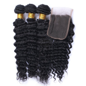 Fashion A Plus (TM) Brazilian Deep Wave Curly Virgin Remy Hair 3 bundles Unprocessed Human Hair Extensions with Lace Closure Hair Piece Natural Colour 7A+ Grade