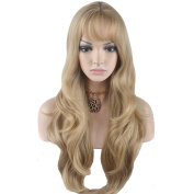 RightOn 70cm Fashion Women Girls Long Curly Wavy Synthetic Wig with Air Bangs + Free Wig Cap + Free Comb