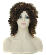 Modotop Women Gradient Brown and Black Long Curly Heat Resistant Synthetic Hair Swept Bangs Bob Sexy . Wig