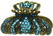 Metal Jaw Clip, Luxuriously Decorated with Sparkling Stones, in Royal Gold Tone Plating RW86412-6095aqua marine