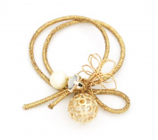 Korean Hair Tie Crystal Inside Gold Ball Cage Delicate Hand Twisted Gold Star Elastic Hair Tie Ponytail Holder (Made In Korea)