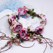 Valdler Vintage Natural Adjustable Berries Vines Flower Headband with for Wedding Festivals Pink