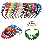 Plastic Headband with Teeth - 12 Hard Headbands in Bright Colours CoverYourHair®