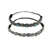 YUETON Pack of 2 Handmade Crystal Rhinestone Beads Elastic Headband Hair Band Women Hair Jewellery Accessories
