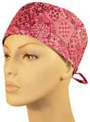USA Made Pink Paisley Medical Scrub Cap Sweatband Adjustable Ties Doctor Nurse Vet Aid Dentist