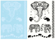BTArtbox 5 Sheets Black & White Elephant Pattern Lace Temporary Tattoo