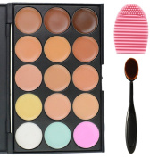 EVERMARKET 15 Colours Professional Concealer Camouflage Makeup Palette Contour Face Contouring Kit + 1 PC Premium Oval Make Up Brush + 1PC Silica MakeUp Washing Brush