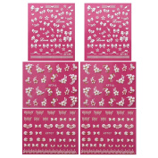 Fingernail Stickers Nail Art Nail Stickers Self-Adhesive Nail Stickers 3D Nail Decals - Bows, Hearts & Flowers