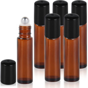 Glass Roller Bottles Solid Amber Glass Roller Bottles with Stainless Steel Roller Balls,for Aromatherapy Perfumes and Lip Balms,6 Bottle Set,10ml(1/3 OZ),Essential Oils Glass Roll on Bottle
