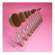 Fullkang Clear Acrylic 10 Lattices Cosmetic Shelf 10pcs Brush Storange Place Organiser