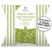 Travel Size Toilet Odour Eliminator - 15 Single-Use Pods - Leak Proof & Made of Natural Ingredients. Easy to carry & eliminates embarrassing odours. Septic safe, TSA Approved & Made in USA