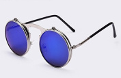 VINTAGE STEAMPUNK Sunglasses round Designer steam punk Metal OCULOS de sol women COATING SUNGLASSES Men Retro CIRCLE SUN GLASSES, Blue