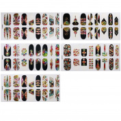 BMC 5 Sheet Multicolor Holographic Negative Space Nail Art Applique Sticker Wraps-Holo Cosmos
