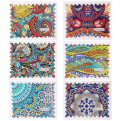 BMC 6 Sheet Bright Pastel Paisley Floral Abstract Water Transfer Sticker Decal
