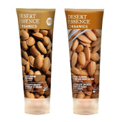 Desert Essence Sweet Almond Body Wash and Desert Essence Sweet Almond Hand and Body Lotion Bundle With Organic Sweet Almond Fruit Extract and Almond Oil, 240ml each
