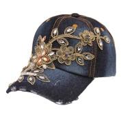 Creazy® New Vogue Women Diamond Flower Baseball Cap Summer Style Lady Jeans Hats