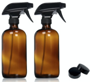 Empty Amber Glass Spray Bottle - Large 470ml Refillable Container for Essential Oils, Cleaning Products, or Aromatherapy - Black Trigger Sprayer w/ Mist and Stream Settings-2 Pack