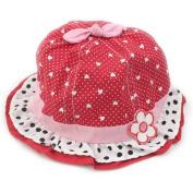FuzzyGreen® Sweet Baby Girls Infant Kids Polka Dots Hearts Pattern Flower Bowknot Ruffle Accent New Born Summer to Love Sun Cotton Hat Cap Beanie