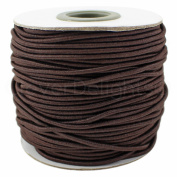 CleverDelights Brown Fabric Elastic Cord - 10 Yards - 2mm - Crafts Beading Jewellery Stretch Shock Cording
